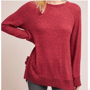 Postmark Red Ruffle Hem Sweater Anthropologie M